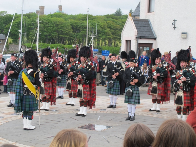 Lewis pipe band on parade