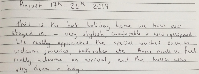 Feedback from some summer guests